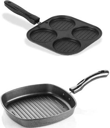 haiidra Non-Stick Aluminum Grill Pan and 4 in 1 Mini Uttapam Maker/Pancake Pan Combo - 19.5 cm Diameter ( Multicolour)