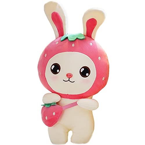 Lindo Conejo de Frutas Muñeco de Peluche de Dibujos Animados Conejo de Fresa Almohada de Peluche Suave Conejo Animal Cojín de Juguete de Peluche Regalo de Niña 30CM (11.8inches)