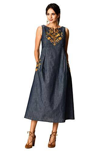 eShakti FX Floral Embellished Empire Cotton Chambray Dress S-4 Indigo Chambray/Multi