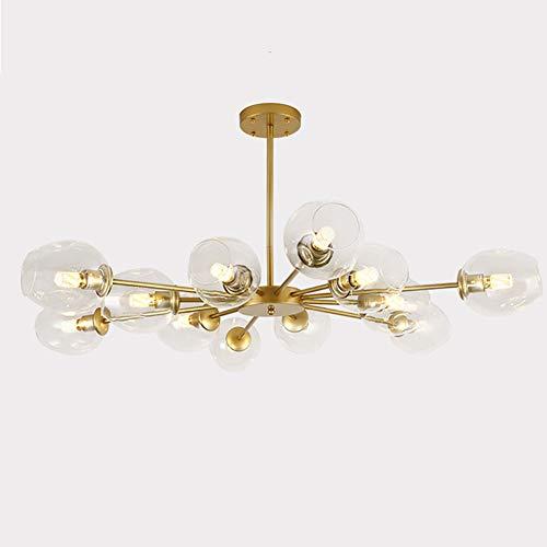 Oro Moléculas Lámpara De Araña Para Sala De Estar Moderno Vidrio Sputnik Iluminación Colgante Accesorio Para Dormitorio Con Sombras De Vidrio Transparente Varillas Ajustables Dorado 12 Luces