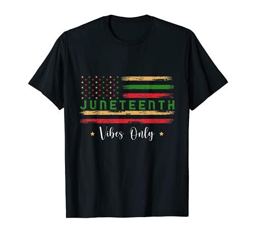 Juneteenth 1865 Vibes Only US Flag Black Independence Retro Camiseta
