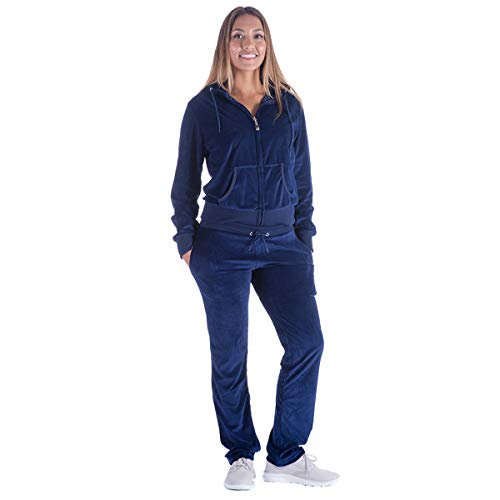 Black Grey Womens Velvet Zip Hooded Sweatshirt Athletic Soft Plus Size Hooded and Sweat Pants Tracksuit Set (L, Navy)