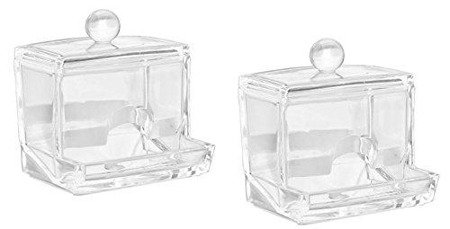 naissant 【2個セット】透明 アクリル アクセサリー 綿棒 ケース コットンスティック ボックス 蓋付き ホルダー スタンド 化粧品 収納ケース クリア