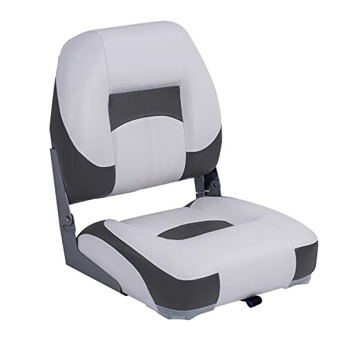 NORTHCAPTAIN T1 Deluxe Low Back Folding Boat Seat, White/Charcoal,Stainless Steel Screws Included
