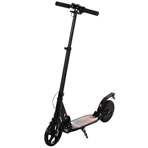 HOMCOM Kick E-Scooter Electric Folding Adjustable, 8' Solid Wheels, Designed for Ages 14+, Black