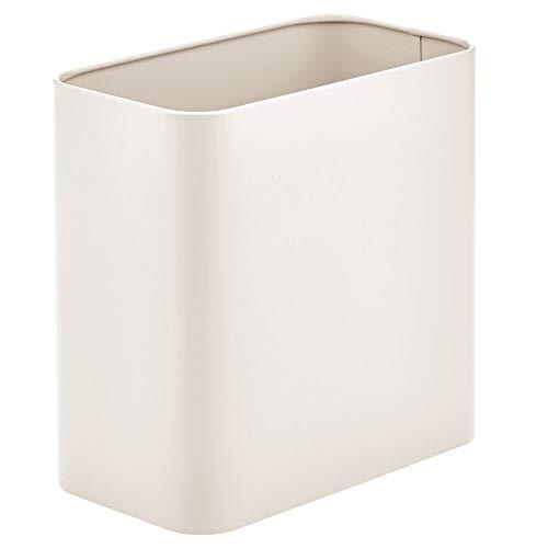 MDESIGN rechteckiger Mülleimer – kompakter Abfalleimer für Bad, Büro und Küche mit ausreichend Platz für den Müll – Papierkorb aus Metall – cremefarben