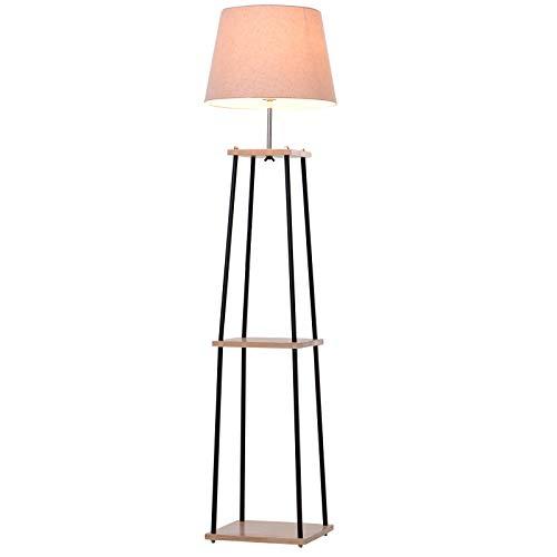 HOMCOM Metal Tripod Floor Lamp w/ 3-Tier Shelves Foot Switch Modern Stylish E27 Lampshade Base Functional Duo Design