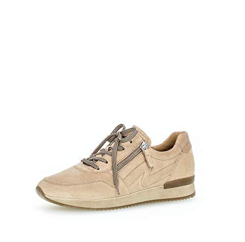 Gabor Damen Sneaker, Frauen Low-Top Sneaker,Best Fitting,Reißverschluss,Übergrößen,Optifit- Wechselfußbett, sportschuh,Desert,39 EU / 6 UK