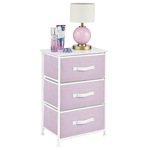 mDesign Vertical Dresser Storage Tower - Sturdy Steel Frame, Wood Top, Easy Pull Fabric Bins - Organizer Unit for Bedroom, Hallway, Entryway, Closets - Textured Print - 3 Drawers - Light Purple/White