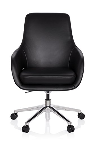 hjh OFFICE 600980 Lounge Sessel BARENO Echt Leder Schwarz hochwertiger Drehsessel bequem gepolstert