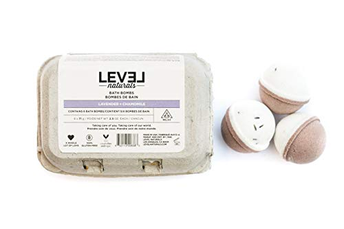 Level Naturals Bath Bombs, Easter Gift - Lavender + Chamomile, Rich in Sensory Aromatherapy Essential Oils, Luxurious Handmade Bath Spa Gift Set , 6 x 2.5OZ…
