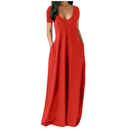 CANTOB Women Summer Dresses Short Sleeve V Neck Bohemian Maxi Dress Casual Sundress Beach Dress(B1-Red,3XL)