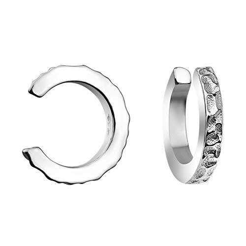 SOFIA MILANI - Damen 2er Set Fake Piercing Manschette Ohr - Aus echtem 925 Sterling Silber - 20745