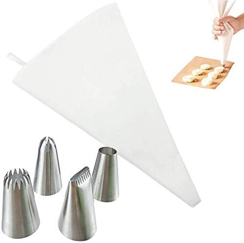 Ealicere Spritzbeutel Set 5-teilig, Profi-Spritzbeutel-Set 40 cm, wiederverwendbarer Spritzbeutel mit Tüllen, 4 Edelstahl- Spritztüllen für Kuchen, kochfeste Baumwolle beschichtet