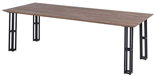 Hartman Amsterdam Tower Tuintafel - L240xB100xH75 Cm - Natural Old Teak - Carbon Black Frame