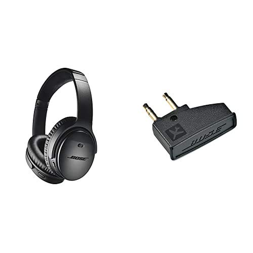 Bose QuietComfort 35 Wireless Kopfhörer II (mit Amazon Alexa), schwarz + Airline-Adapter für Bose QuietComfort 3