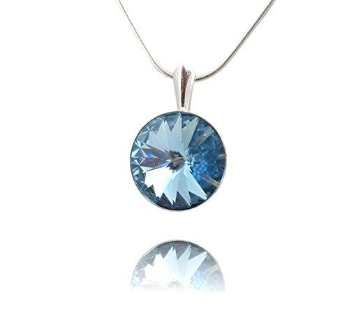 Crystals & Stones *Aquamarine* *RIVOLI* - Anhänger mit Silberkette aus 925 Silber mit original Swarovski® Elements - Halskette mit Schmucketui