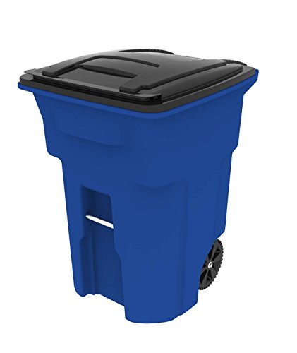 Toter 025596-R1705 Residential Heavy Duty Two Wheeled Trash Can with Attached Lid, 96 Gallon, Blue
