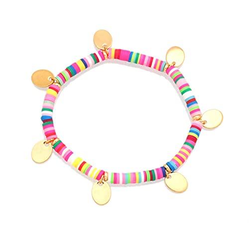 Pulsera ZIYUYANG, cuentas de disco de arcilla polimérica de colores de 4 mm, pulsera elástica para mujer 1