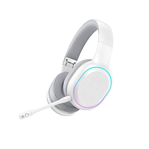 HANYF Casque Gaming, Surround Basse De Son Surround Xbox 360, Anneau Lumineux Bluetooth/sans Fil Éblouissante/Microphone Prise, Adapté pour Les Jeux Adultes,Blanc