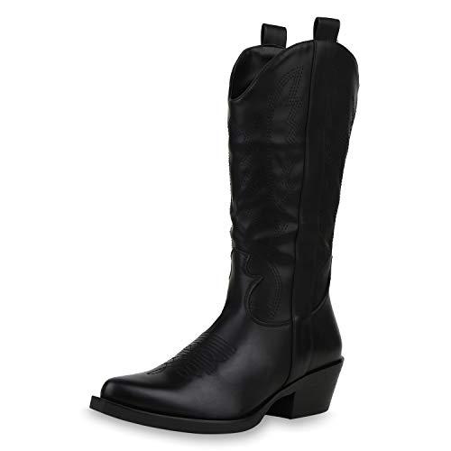 SCARPE VITA Damen Stiefel Cowboystiefel Lederoptik Stickereien Western Schuhe Holzoptikabsatz Boots 187179 Schwarz Schwarz Total 37