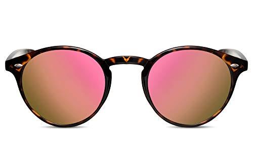 Cheapass Occhiali da Sole Unisex Rotondi Demi con Lenti a Specchio Rosa 100% UV400 Protetti