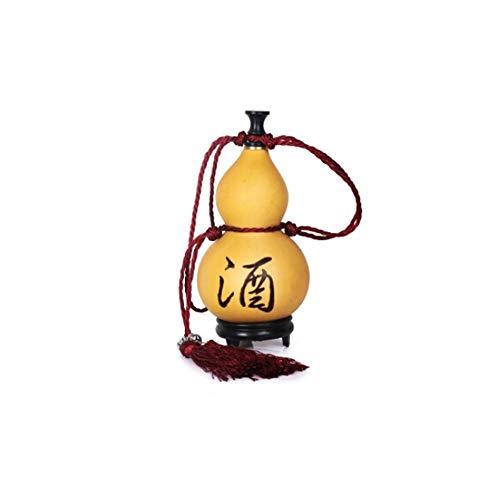 XIAONINGMENGDIAN Hip Flask, Natur Gourd Tragbare Weinflasche, Flaschenkürbis dekorative Fertigkeit-Anhänger, Edelstahl Trichter mit Basis Weinzubehör (Size : M)