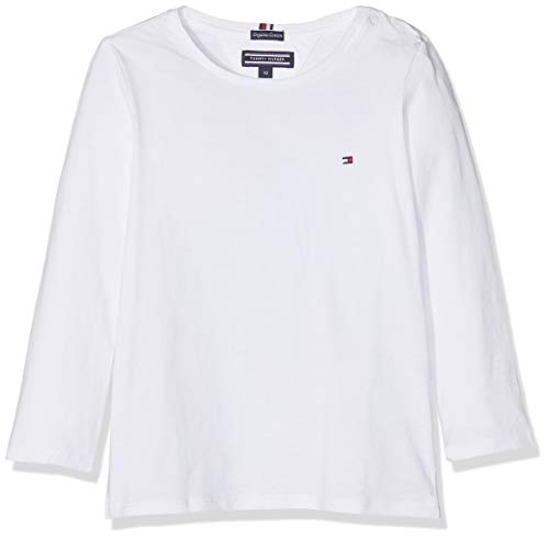 Tommy Hilfiger Girls Basic Cn Knit L/s Camiseta, Blanco (Bright White 123), 176 (Talla del Fabricante: 16) para Niñas