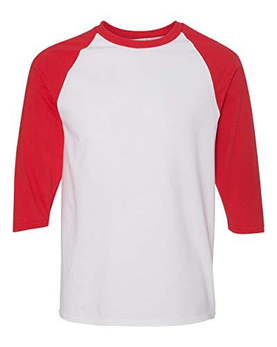Gildan Mens Heavy Cotton ¾-Sleeve Raglan (G570) -WHITE/RED -S