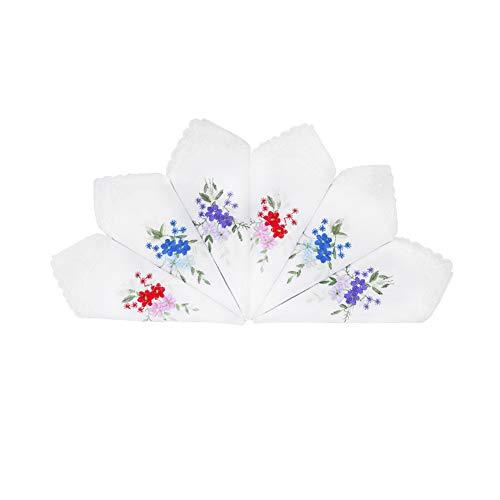 HOULIFE 6 Stücke Damen Taschentücher aus Baumwolle Weich Weiß Blumen Stickereien Stofftaschentücher mit Spitzen