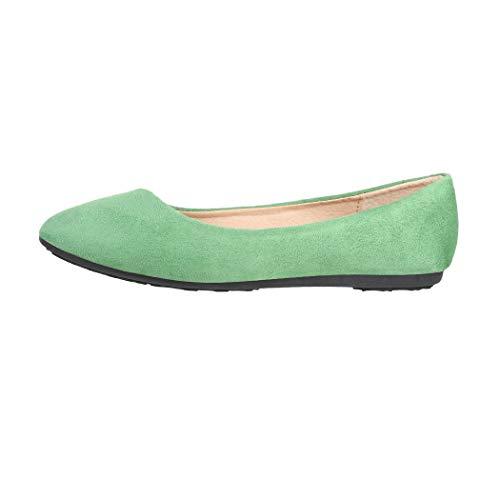 Elara Damen Ballerinas Bequem Wildlederoptik Flach Chunkyrayan DY-10 Green-39
