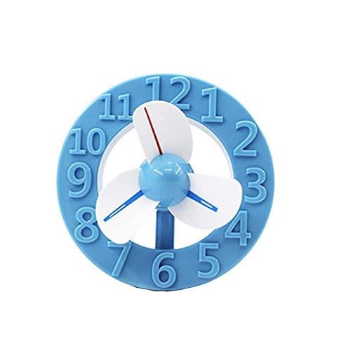 LZQBD Fans, Forma de Reloj Usb Mini Fan de Carga Portátil,Azul