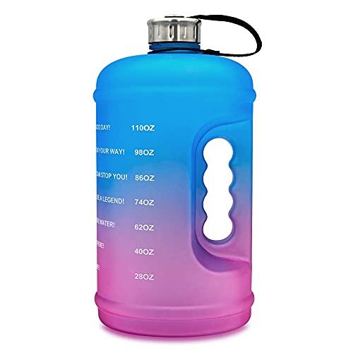 MCTY Vaso de 1 galón de gradiente esmerilado para fitness, con marcador de tiempo y mango libre de BPA para deportes al aire libre