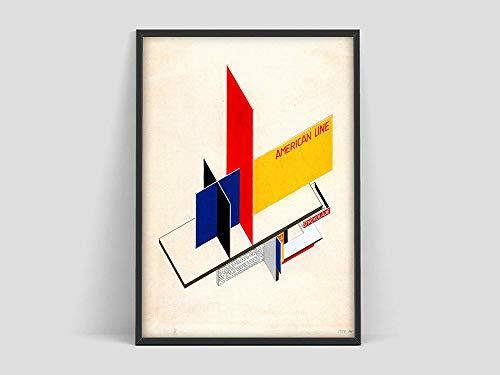 Póster de diseño de quiosco Bauhaus, Weimar 1923, impresión de pintura artística Bauhaus, lienzo decorativo sin marco familiar H 30x45cm