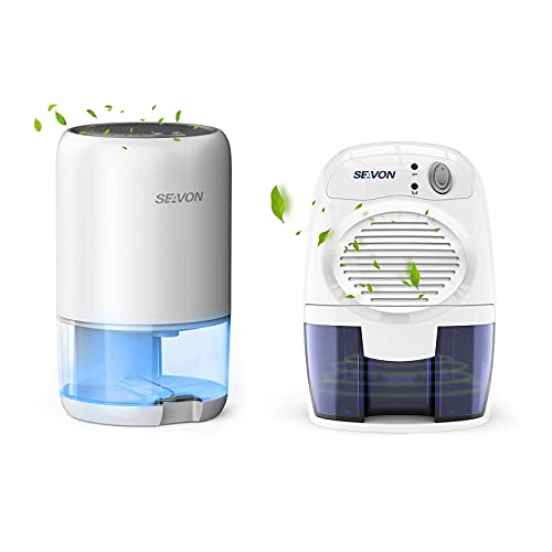 SEAVON Dehumidifier Up to 2500-2200 Cubic Feet dehumidifiers with LED Lights for home, basements, bathroom, bedroom, RV, Office, Auto Shut-off