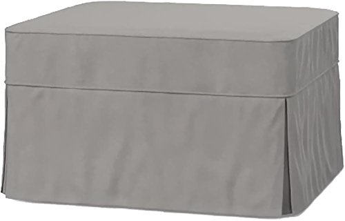 The Cotton Ottoman Slipcover Replacement. It Fits Pottery Barn PB Basic Ottoman. Dense Cotton Sofa Footstool Cover (Basic Light Gray)