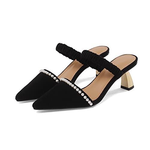 Sandalias de tacón para Mujer Sandalias de tacón de Perlas de Perlas versátiles con Tacones Delgados (Color : Black, Size : 39 EU)