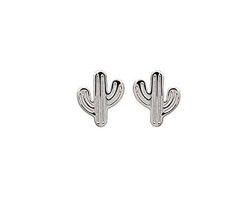 Pendientes para mujer de plata 925/000 rodiada, cactus.