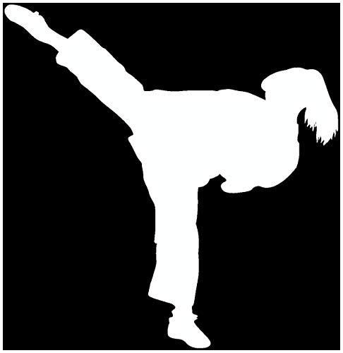 Samunshi® Aufkleber Karate Karatekämpferin in 10 Größen und 22 Farben (15x15cm weiß)