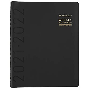 Academic Planner 2021-2022, AT-A-GLANCE Weekly & Monthly Planner, 8-1/4″ x 11″, Large, for School, Teacher, Student, Contempo, Black (70957X05)
