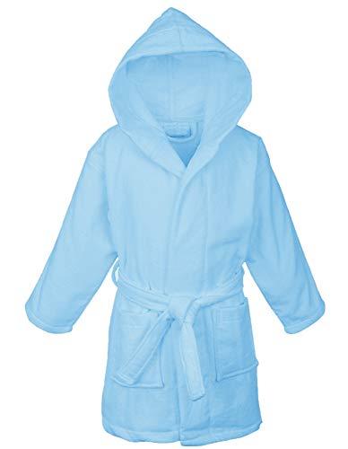 Bata de microfibra con capucha para niños, Turquesa, 9-12 Años