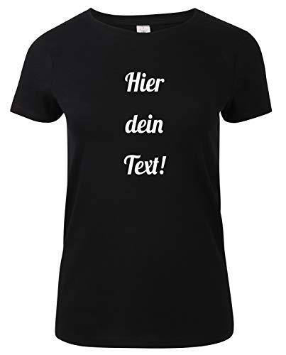 Damen T-Shirt Rundhals Bedrucken mit dem Amazon Tshirt Designer. T-Shirt selber gestalten. T-Shirt Druck. T-Shirt mit Wunschtext. T Shirts sind Ökotex-100 Zertifiziert. Schwarz S