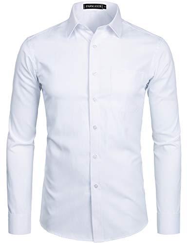 PARKLEES Men's Long Sleeve Dress Shirt Solid Slim Fit Casual Business...