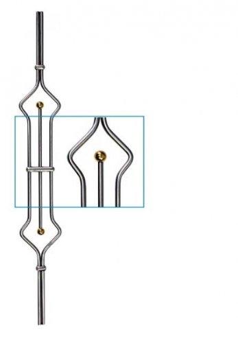 Zierstab, Durchmesser ø 12mm, mit zwei ø 25mm Messingkugeln, Länge 900mm
