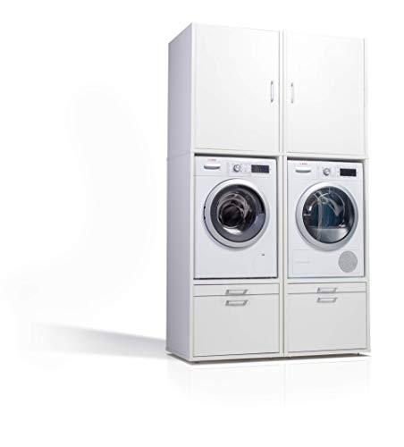 2 x Waschmaschinenschrank - Der Waschturm - Doppelschrank mit Ausziehbrett und Aufsatzschrank - TÜV zertifiziert - Stabil - Höhenverstellbar - 146 cm x 67 cm x 65 cm - Mit Schrankaufsatz 87 cm