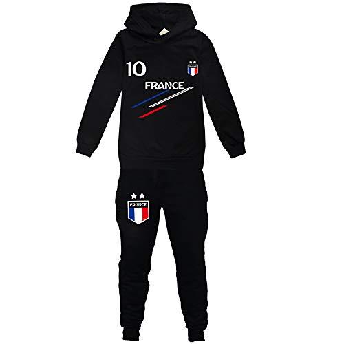 Jogging Enfant De Football France 2 étoiles Sweats à Capuche Survêtements garçon Screenprint Hoodie - Pulls Garçon 4 6 8 10 12 14 16ans (BL,13-14ans)