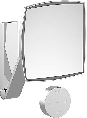 Keuco Wand-Kosmetikspiegel mit Schwenkarm, Variabler LED-Beleuchtung, 5-facher Vergrößerung, Unterputz-Kabelführung, 20x20cm, eckig, Chrom, iLook_Move
