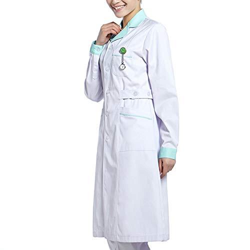 Medizinische Kleidung Krankenhaus-Arbeitskleidung Laborkittel Uniform Weiß mit langen Ärmeln Anzug Rundhals Medizinische Kleidung Mit 3 Taschen,Grün,XXL