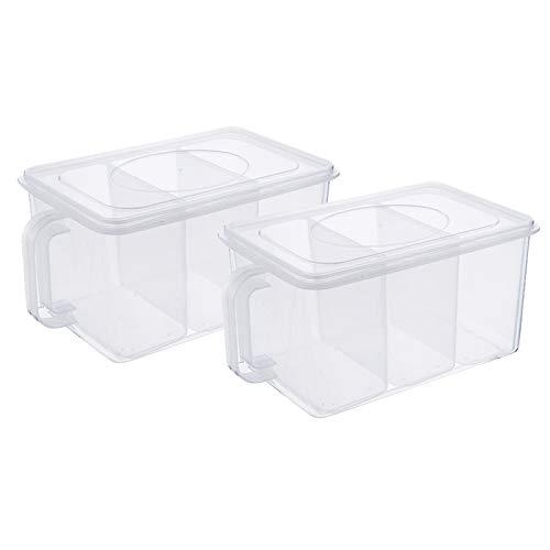 Camisin Paquete de 2 contenedores de almacenamiento de plástico con asas extraíbles para almacenamiento de alimentos, cajas organizadoras con tapas para armario de nevera