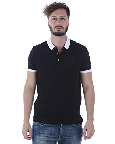 Versace Collection Men's Cotton Pique Embroidered Medusa Polo Shirt Black